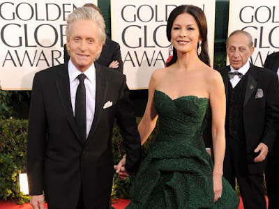 Catherine Zeta-Jones in Green Strapless Gown at 2011 Golden Globe Awards