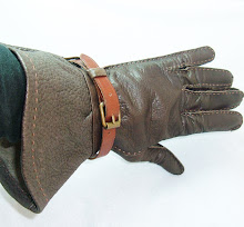 PRADA VINTAGE Gauntlet Glove in Luxurious Brown Leather with Buckle Strap
