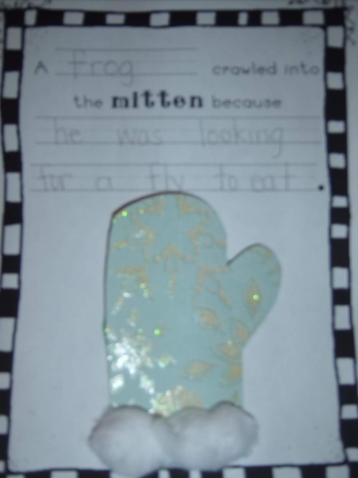 Only glue the bottom of the mitten to the page.