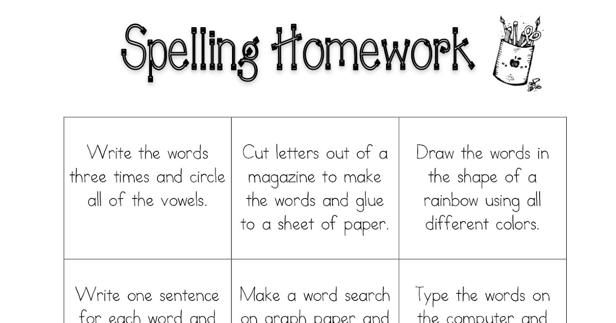 Fun spelling homework ideas