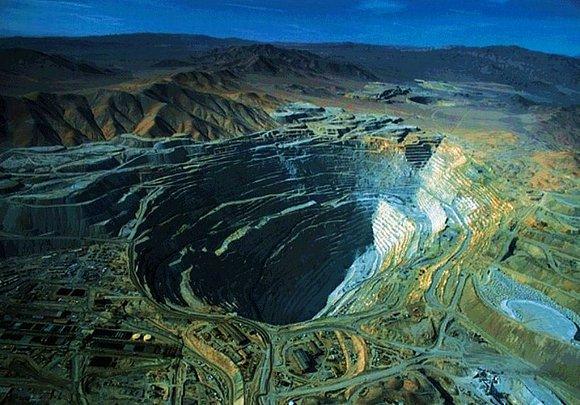 Vue aérienne de la mine de Chuquicamata