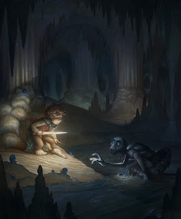 justin gerard illustration the hobbit bilbo gollum riddles in the dark