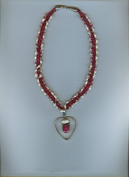 Ruby and sterling silver necklace