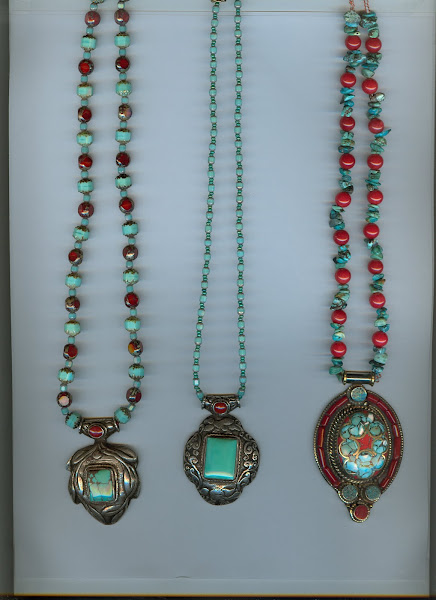 3 handmade turquoise pendants from India, necklaces