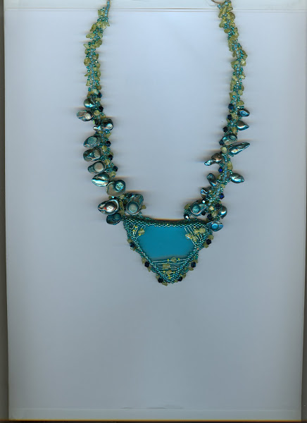 Peacock Beach Glass with Fresh Water Pearls