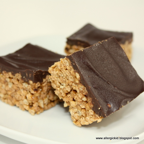 The Allergic Kid: Chocolate Covered Crunchy Rice Squares