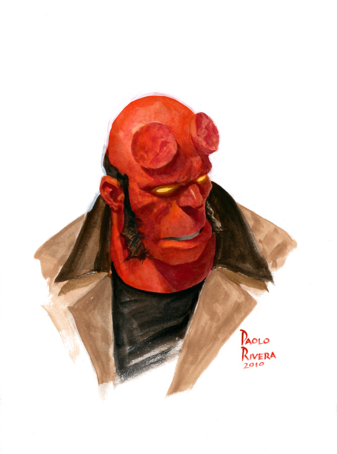 Hellboy laughing