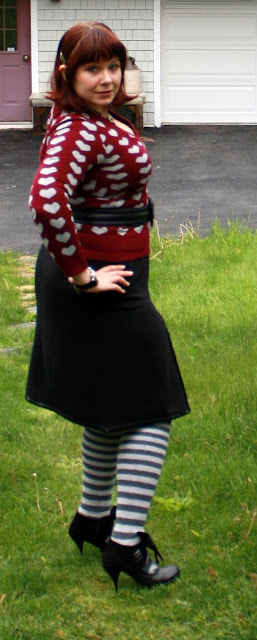 today's outfit,heart sweater, Kenar skirt, John Fluevog shoes, Sock Dreams thigh-highs