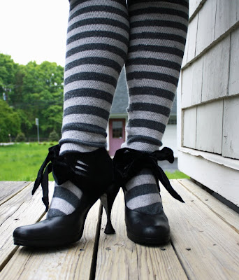 John Fluevog Listen Ups Jade, heels with ribbons, stripey socks