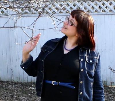 black and blue outfit, WIWT, closeup, denim jacket, dress, belt, necklace