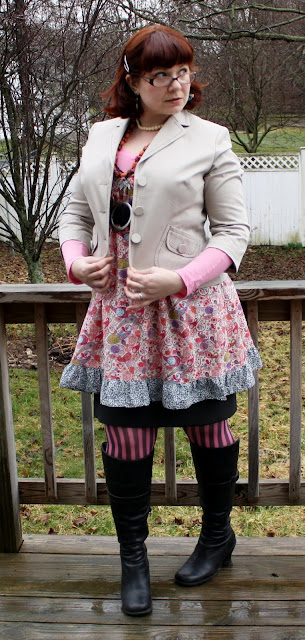 today's outfit, Liberty of London dress, jacket, skirt, stripey stockings, boots