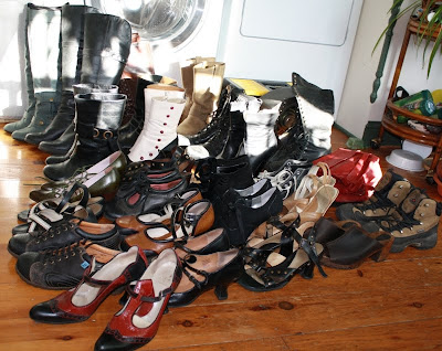 Most of my shoes, Fluevogs, Earth shoes, Frye boots, London Underground boots, Converse
