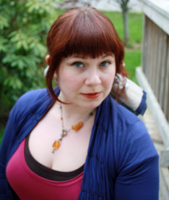 scarf in hair, citrine toggle necklace
