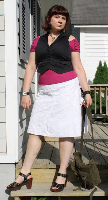 today's outfit, sweet and rough, velvet top, Ann Taylor Loft vest, John Fluevog sandals