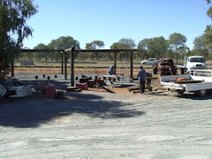 gang working on pergola at national transport museum