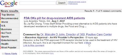 Commentaires dans Google News