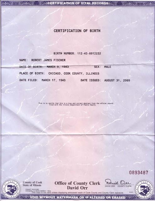 Chicago Chess Blog: Fischer birth certificate