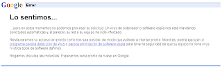 Error virus / troyano Google