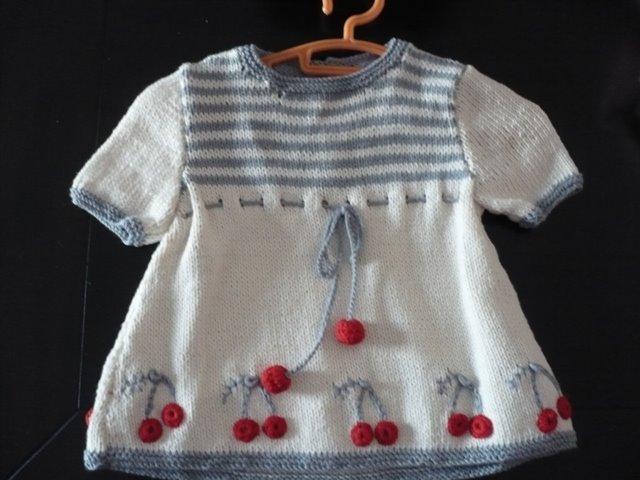 vestido punto con cerezas 0-3 meses