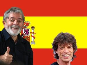 Lula e Mick Jagger torcendo pela Espanha na Copa 2010