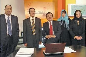 """تقديم برنامج """"سيرة وأنفتحت"""" مع (من اليمين) غادة غزاوي، نادية الدوسري، خالد المالك وحسين شبكشي"""