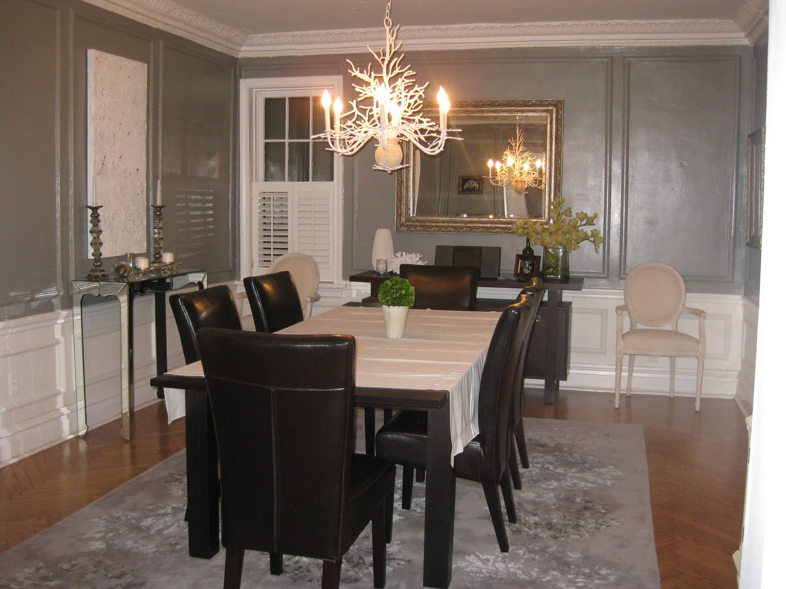Otherwise occupied gray dining room for Dining room suites images