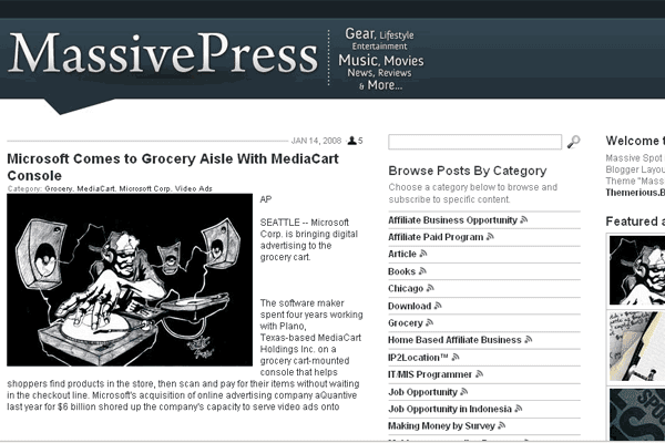 Works #6: Massive Press Theme for Blogger XML Layout is Almost Finish