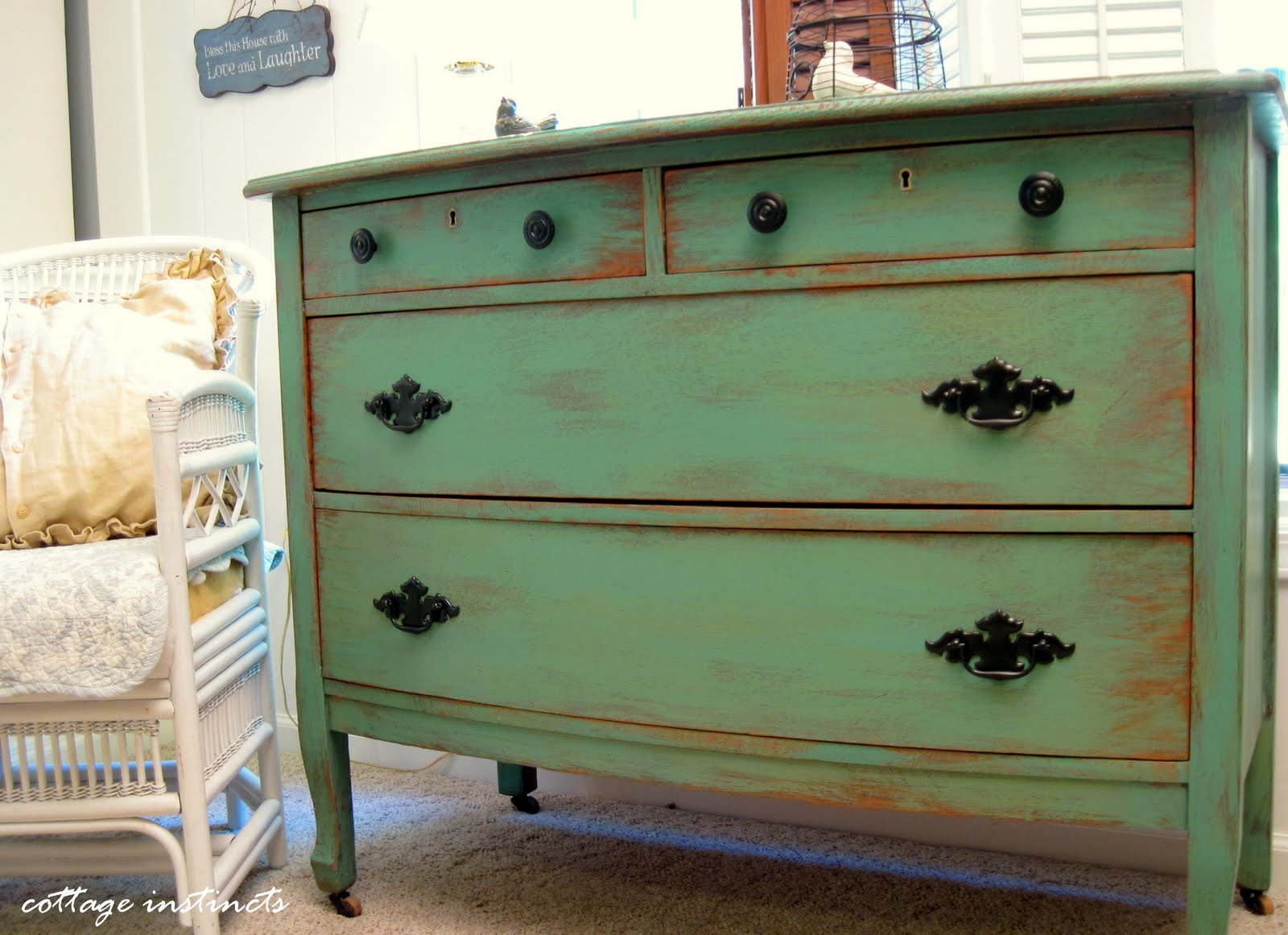 Cottage instincts how i paint and distress a dresser in for Distressed furniture