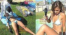ANA VIRIATO COM BIQUINI REDUZIDO A FAZER UMA MASSAGEM NO VERÃO TOTAL - FIGUEIRA DA FOZ 28/7/2008