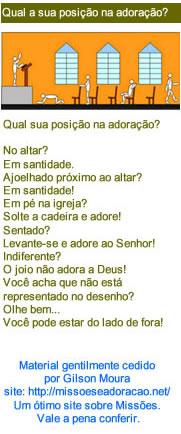 Qual a sua posição na Adoração?