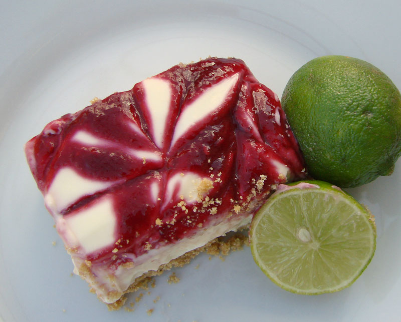 Delectable Edibles: Raspberry Lime Cheesecake Squares