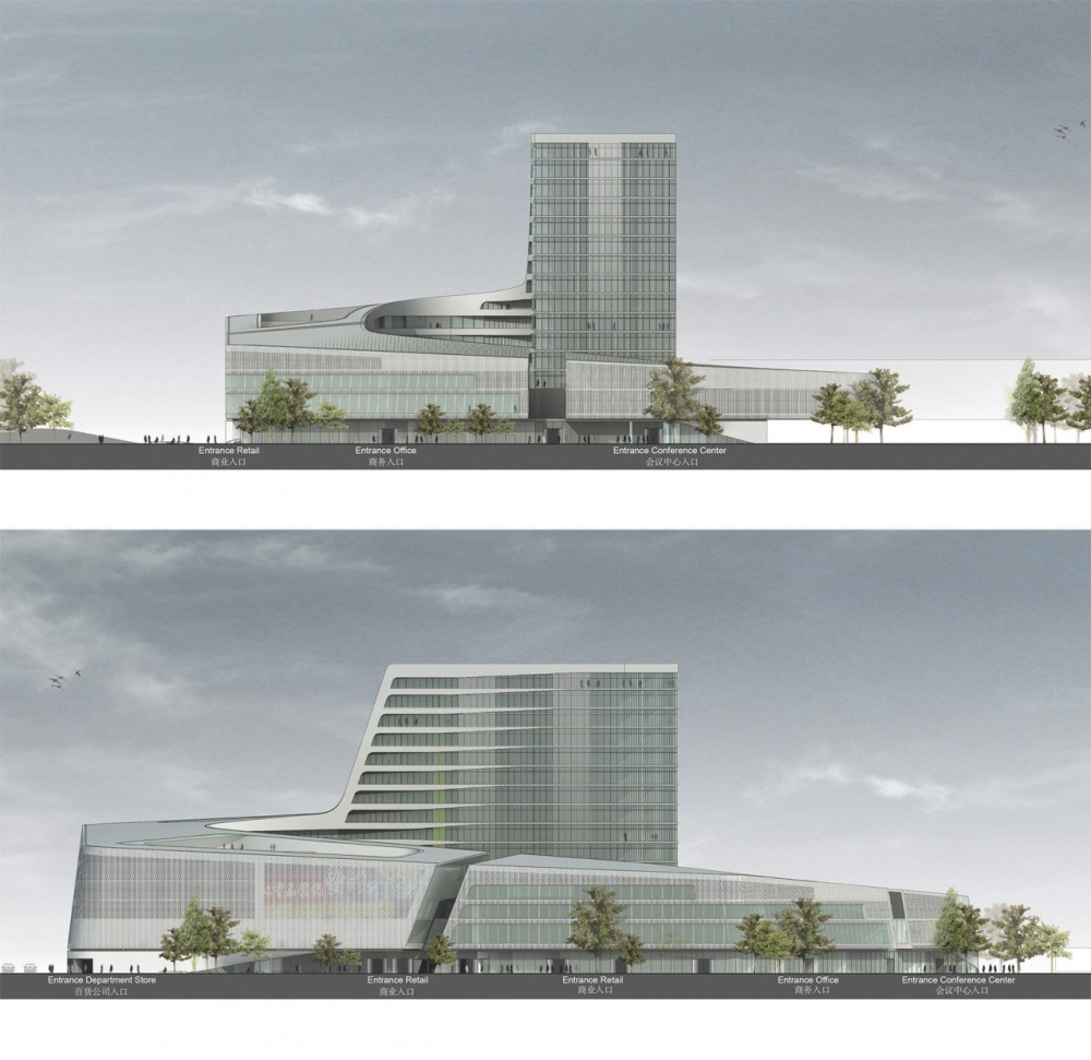 South west hotel competition proposal henn architects for Architect elevation design