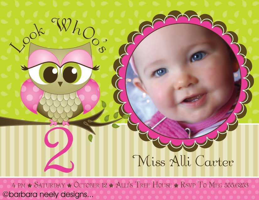 Owl First Birthday Invitation Free Template