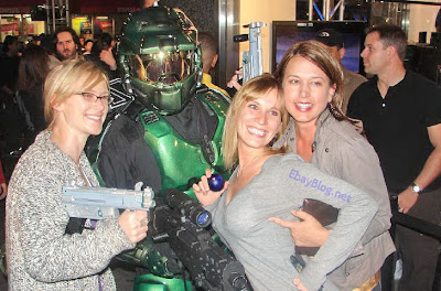 master chief in halo 3 spartan suit with girls