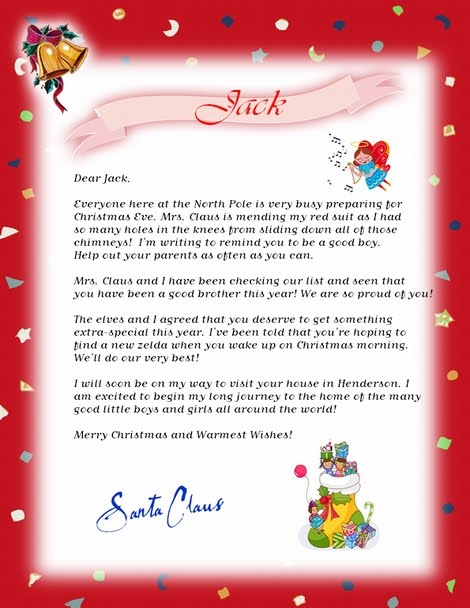 Free printable santa letters new calendar template site for Letter from santa free printable