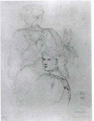 Edward Burne-Jones - Study for two draped females, for the painting