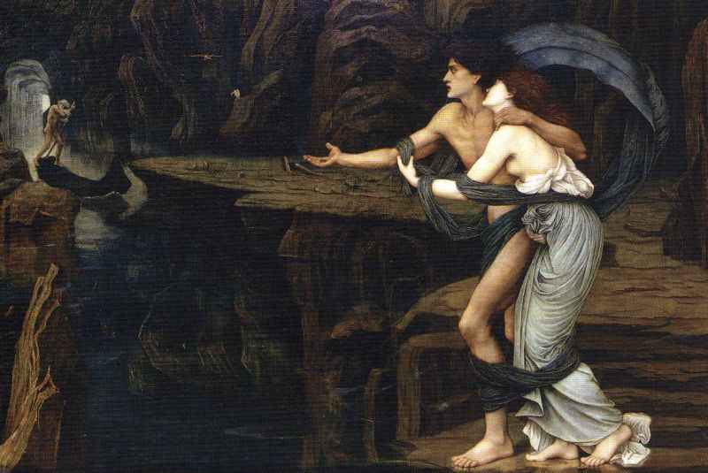 John Roddam Spencer Stanhope - Orpheus and Eurydice on the Banks of the Styx
