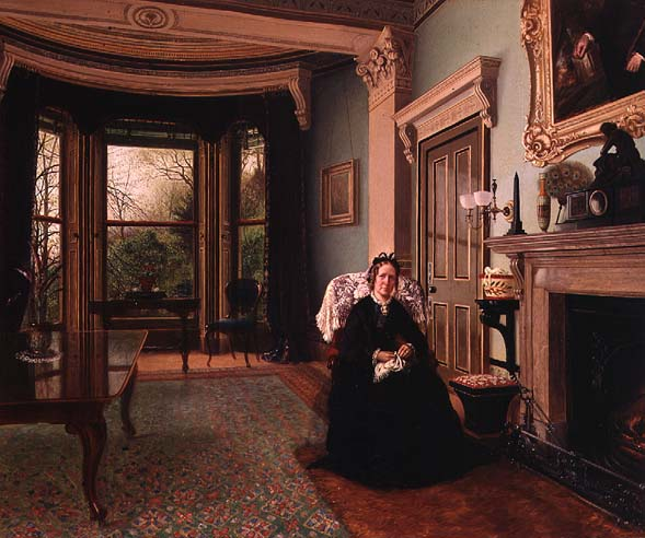 charles frederick lowcock victorian interior with seated lady
