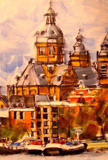 Saint Nicolaaskerk, Amsterdam. Ink&Acrylic