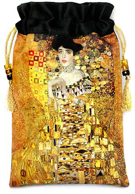 Gustav Klimt pure silk drawstring tarot bag. By Baba Studio.