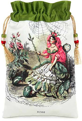 Lady Rose. Silk tarot bag or drawstring pouch with JJ Grandville illustration.