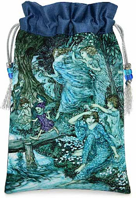 Fairies by Night, silk and satin tarot bag, drawstring pouch with Arthur Rackham illustration.