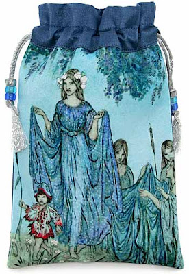 Fairy Troop, silk and satin tarot bag, drawstring pouch with Arthur Rackham illustration.
