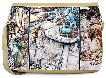 Alice in Wonderland three-way print and canvas messenger bag. 'Alice and the Caterpillar' picture.