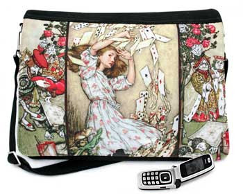 Alice and the Shower of Cards. Three-way canvas and customised fairytale print messenger bag with Arthur Rackham pictures.