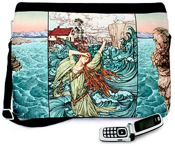 Undine the Mermaid. Three-way canvas and customised print Alice messenger bag with Arthur Rackham pictures.