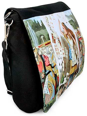 Alice in Wonderland, The Queen of Hearts, three-way print and canvas customised messenger bag