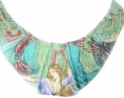 Mermaids Chiffon Wrap. Based on Rackham pictures. By Baba Studio.