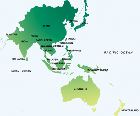 map of asia pacific region. Map of Asia Pacific