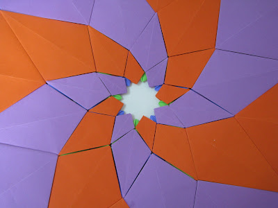 Tomoko Fuse's Origami Quilt Blooming Flowers 1 in Orange, Green, Blue, and Purple closer look at reverse side